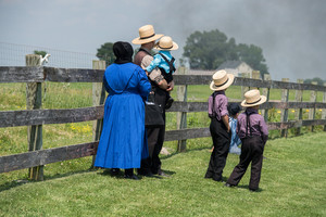 Une famille Amish de Pennsylvanie, juin 2016.